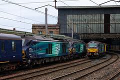 Litter of Kittens (68021, 68005 & 68001) (Steven Atkinson) Tags: 68005 68019 68001 defiant brutus evolution 5c42 sellafield carlisle kingmoor drs direct rail services 68021 68016 tireless fearless 1q13 heaton derby rtc