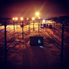 station (denisperekhrest) Tags: station train lights evening rails now iphoneography instagram