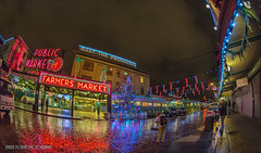Photographers at the Market (KPortin) Tags: seattle tree reflections lights farmersmarket photographers fisheye westlake flickrites photostroll seattledowntown seattleflickrmeetup stroll1212 mse121212