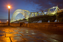 Wet Pavement..... (Chrisconphoto) Tags: lights dusk bluehour runcorn merseyside widnes wetpavement runcornbridge
