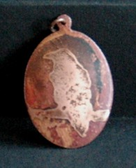 Raven $25 SOLD (rainypotato) Tags: eagle turtle jewelry frog copper raven etch pendant gwaii patina haida haidagwaii copperpendant