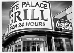 You Would Make An Exception (swanksalot) Tags: blackandwhite bw white signs chicago diner roosevelt cocacola southloop open24hours whitepalacegrill 18mm200mm conleyspatch