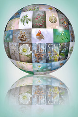 Happy Christmas (Jacky Parker Floral Art) Tags: christmas xmas portrait reflection nature collage vertical closeup ball festive season 3d globe images photographs format greetings orientation 2012