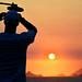 pôr do sol na praia da Reserva de Marapendi