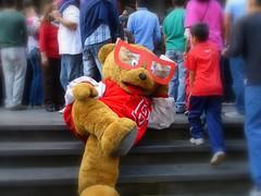 Oso cansado Tired Bear (Raul Jaso) Tags: bear mexico oso mexicocity teddy bears tired teddybear ciudaddemexico exhausted cansado centrohistorico motley osos botargas osodepeluche botarga exhausto agotado fatigado engentado