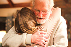 hugs are free (aarongilson) Tags: woman man love canon glasses sweater hug grandfather grandpa granddaughter embrace 60d