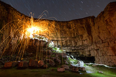 Trajectory (Wire Wool Spinning & Star Trails), Jurassic Coast (flatworldsedge) Tags: light wool painting star coast wire rocks long exposure trails dorset spinning quarry jurassic purbeck hss winspit uploaded:by=flickrmobile flickriosapp:filter=nofilter yahoo:yourpictures=heat