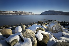 Plum Point I (Michael Neil O'Donnell) Tags: longexposure snow water rocks hudsonriver hudsonhighlands plumpoint stormkingmountain
