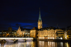 Fraumünster and Limmat River in Zurich Switzerland at Night (mbell1975) Tags: old tower clock church night river lights schweiz switzerland evening town europe suisse bell cloudy dusk swiss zurich kirche chapel svizzera minster altstadt oldtown schweizer ch kirke kapelle limmat fraumünster cantonofzurich panoramafotográfico flickrsportal ilobsterit