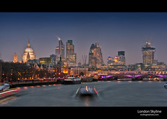 London Skyline (esslingerphoto.com) Tags: city uk longexposure greatbritain bridge winter england building london tower church thames architecture night river boats eos evening boat europe exposure cityscape nightshot britain capital great stpauls architectural single nightshots mkii esslinger englalnd esslingerphotocom