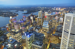 Downtown Sydney (J. Chea) Tags: nightphotography skyline canon buildings twilight nightlights sydney australia newsouthwales lighttrails bluehour harbourbridge sydneycbd sydneyskyline observatorydeck gorillapod jchea canoneos5dmarkii sydneyeye jeromechea jcheaphotography canonef1740mmf40llens sydneytowereye