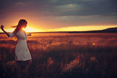 (-Fearless-) Tags: sunset summer portrait white selfportrait girl beautiful field sunshine silhouette clouds self hair golden long glow dress fields rainfall partial whitedress