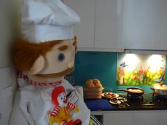 Something's astir (Roving I) Tags: chefs swedishchef sesamestreet mcdonalds ronaldmcdonald cartooncharacters softtoys kitchens cooking foodpreparaton apartments danang vietnam