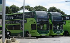Southern Vectis Alexander Dennis Enviro 400 bodied Alexander Dennis E40D HJ64BSV & HJ16HSF in Newport 18 July 2016 (IslandYorkie) Tags: buses busesinthesouthofengland busesontheisleofwight doubledecker alexanderdennisbuses alexanderdennise40d alexanderdennisbody alexanderdennisenviro400 hj64bsv hj61hsf 1595 1616 southernvectis svoc goaheadgroup gosouthcoast newport newportbusstation isleofwight