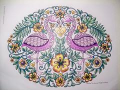 Flamingos (Lynne M. B.) Tags: coloringadults coloring coloringbook coloredpencils drawing art illustration flamngos bird jessvolinski supercutecoloringbook