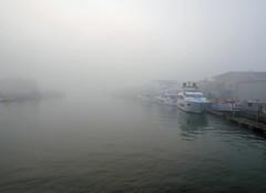 mist and fog around dawn 243/366 (dawn.v) Tags: mistandfogarounddawn earlymorning poolebridge sunseeker poole dorset uk england august summer mist fog sea coast seamist weather yachts