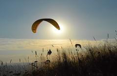 DSC_1611 (JustineChrl) Tags: sunset coucher de soleil auvergne france puydedome volcan montagne nature landscape paysage colors orange red blue sky clouds sun parapente parasailing nikon nikond3200 out
