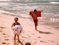 Mandy and Bert Running on the Sand - c1983 (kimstrezz) Tags: 1983 familytriptohawaiic1983 hanaleibay kauai mandy bert mandyandbert