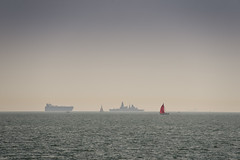 366/237 24Aug16 Offshore (Romeo Mike Charlie) Tags: haylingisland solent englishchannel hmsdaring type45 destroyer royalnavy carcarrier uecc sea water shipping ship