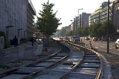 Die Trambahntrasse schlngelt sich nun weiter zwischen Einsteinstrae und den Wohngebuden Richtung Betriebshof (Frederik Buchleitner) Tags: baustelle bergamlaim haidhausen linie25 mvg munich mnchen neubaustrecke steinhausen strasenbahn streetcar tram trambahn