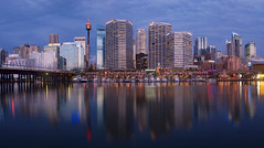 My Darling (Harbour) (edwinemmerick) Tags: ocean city longexposure sea sky cloud 20d water marina canon reflections eos cityscape sydney australia le nsw slowshutter newsouthwales darlingharbour bluehour edwin emmerick edwinemmerick