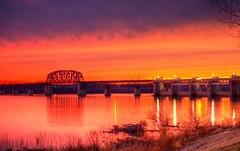 Sunset On The River (Phyllis74) Tags: bridge sunset sky water reflections river indiana southernindiana railroadbridge ohioriver jeffersonville