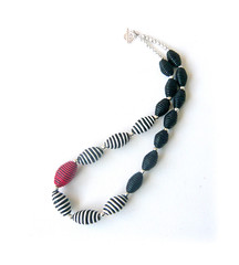 Monochrome & red polymer clay necklace (Lottie Of London) Tags: london polymer clayjewelleryhandmade necklacelottie