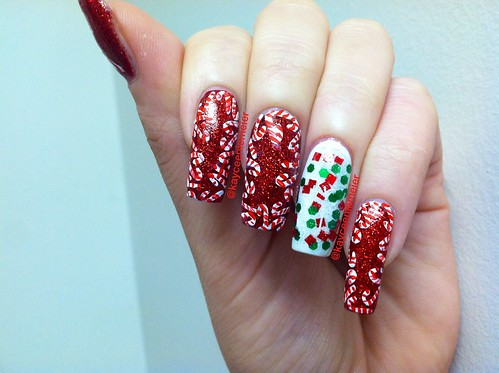 Candy cane nails. Accent nail is Sillylilypolish Christmas 2012