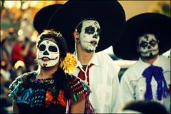 (K. Sawyer Photography) Tags: portrait woman holiday men festival dayofthedead death skull costume hats parade celebration mexican diadelosmuertos facepaint southvalley albuquerquenewmexico westsidecommunitycenter muertosymarigolds 1250isletasw