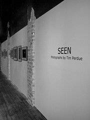 SEEN (tim.perdue) Tags: show city ohio bw white black art monochrome wall by photography photo tim gallery angle center frame opening delaware seen perdue
