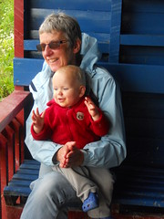 Leo and Granny looking at ducks at Slimbridge (Lyn & Tom) Tags: england2012