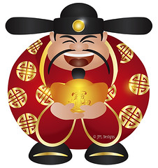 Chinese Prosperity Money God with Gold Bar (JPLDesignsPDX) Tags: new red white holiday money true metal illustration bar festive blessings happy gold symbol god drawing good robe background traditional year cartoon chinese happiness fortune celebration fairy card precious luck wishes come packet longevity greeting lunar vector isolated wealth prosperity auspicious