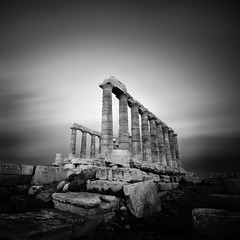 a time to look back (Julia-Anna Gospodarou) Tags: longexposure sky bw building architecture clouds temple nikon ruins columns athens greece workshop classical filters poseidon contrasts 2012 manfrotto hoya attica architecturalphotography nd8 capesounio bw110 1024mm manfrotto055xprob nikond7000 siruik20x
