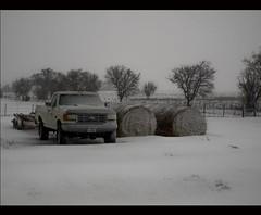 On the Farm (Eric W. Hodel) Tags: snow ford rural dad texas 4x4 olympus hay bales 460 f250 huntcounty huntcountytx gtowneric e620 ericwhodel