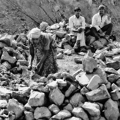 What's Wrong with this Picture (Chesil) Tags: street people bw woman india men mono construction working smoking chesil