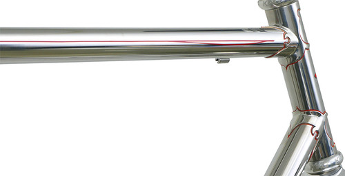 <p>Top tube and head tube for a Waterford polished stainless steel frame with Richard Sachs' Newvex lugs, and red pinstriping.  </p>