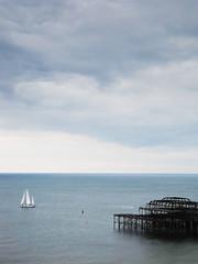 Skies beyond (Zozu9) Tags: sea sky water clouds brighton skies yacht dramatic peer the4elements