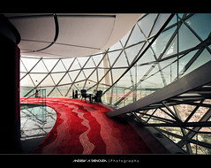 Inside the Globe [HDR] (Bakar_88) Tags: architecture carpet globe nikon shadows interior structure normanfoster staircase sphere architektur hightech nikkor riyadh saudiarabia hdr redcarpet finishing 1024 curtainwall interiorarchitecture d90 widelens architekturfotografie falseceiling primaryform