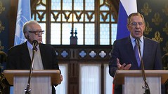 United Nations and Arab League envoy for Syria, Lakhdar Brahimi with Russian Foreign Minister Sergey V. Lavrov discussing the political crisis in the Middle Eastern state. (Pan-African News Wire File Photos) Tags: moscow in lavrov brahimi