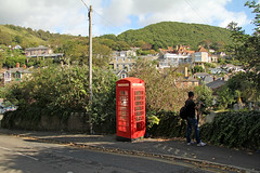 Alphine Road - Ventnor Isle of Wight (England) (Meteorry) Tags: county street uk greatbritain red england english rouge island europe village phone unitedkingdom britain phonebooth telephone september pole ventnor isleofwight british rue 2012 île stewartleiwakabessy meteorry nikeairmaxclassicsbw