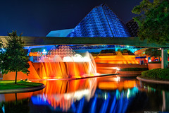 Colors of Imagination (TheTimeTheSpace) Tags: water fountain night reflections stars epcot disney disneyworld imagination monorail wdw waltdisneyworld hdr futureworld matthewcooper photomatix nikond800 thetimethespace