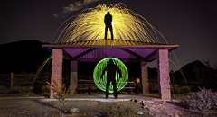 Anyone There?? (Matt G. Harris) Tags: park light sky art college wool phoenix silhouette night photoshop bench painting studio photography photo long exposure desert anyone steel 4 orb az ap lp there prep photograhy lightroom v24 preparatory brophy remada orbing cs5 canoneosdigitalrebelxs lensor mgharris13