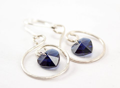 Heart of the Ocean Silver Earrings (BlueSeaJewels) Tags: earrings heartearrings heartofthesea valentinesearrings blueseajewelsjanuaryearrings indigoswarovski