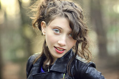 Molly (Sarah Sonny) Tags: portrait woman girl leather hair outside cool bokeh makeup naturallight greeneyes teen eyeliner updo