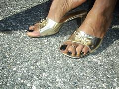 My feet - Outside shots (hyellow) Tags: black sexy feet outside foot toes toe sandals polish ring flip heels flops pedicure wedge
