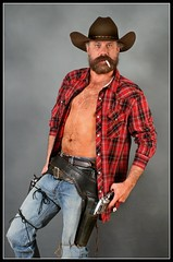 Holster Up (Cowboy Tommy) Tags: hairy hot sexy beard cowboy smoke belts smoking jeans western plaid holster bulge