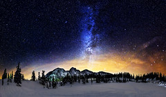 Under the Stars (Alexis Birkill) Tags: trees panorama mountain snow night dark stars nationalforest andromeda astrophotography nightsky galaxies mountbaker milkyway cassiopeia Astrometrydotnet:status=failed Astrometrydotnet:id=alpha20130125134993