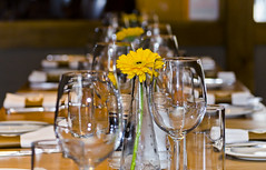Lunchtime Service (bennatrinsphoto) Tags: flower glass table restaurant nikon wine bokeh iso400 nikkor 55200mm d5100