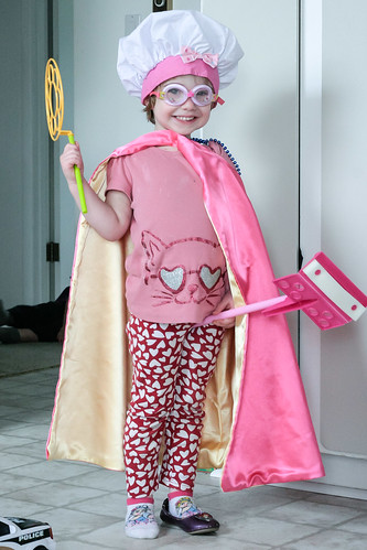 playing girl smile smiling happy costume kid funny cape chefhat fouryearold oliviabaileypeacock