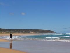 Elizabeth Walking Away (mikecogh) Tags: coast elizabeth peaceful headland parsonsbeach
